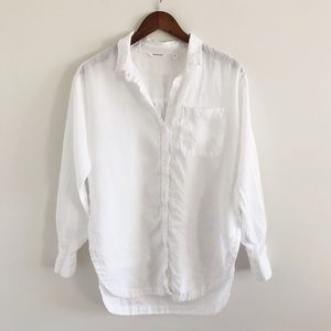 Athleta 100% Linen Long & Lean White Shirt Small